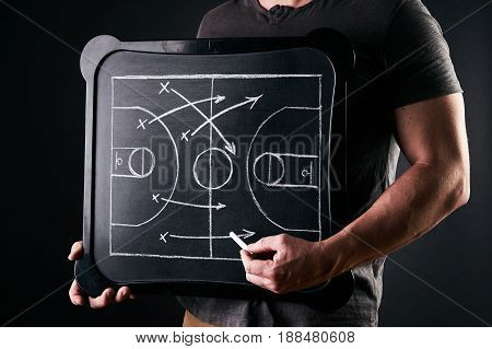 Basketball play tactics strategy drawn on chalk board. Athlete Basketball Player Coaching Team Concept