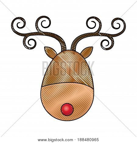 cute cartoon deer with curly horns, red nose head christmas. vector illustration