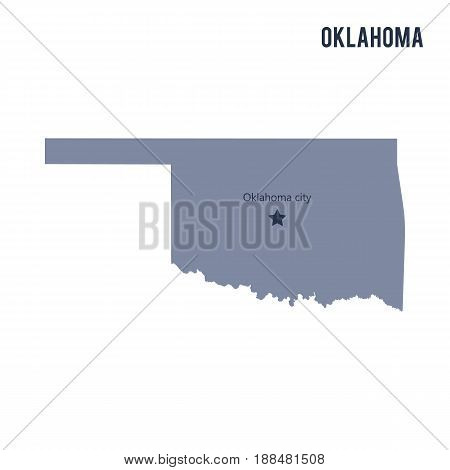 Vector Map State Of Oklahoma Isolated On White Background.