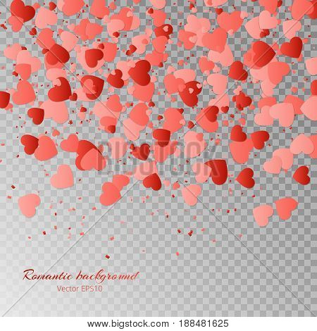 Valentines Day vector illustration with a pattern of falling hearts on a transparent background.
