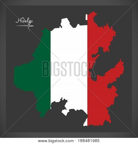 Hidalgo Map With Mexican National Flag Illustration