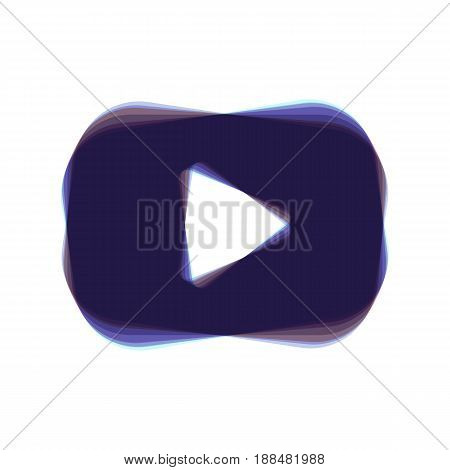 Play button sign. Vector. Colorful icon shaked with vertical axis at white background. Isolated.