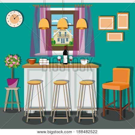 Modern living room interior design with cozy place in the house. Comfortable bar counter and chairs near the window. Flat style vector illustration