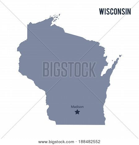 Vector map State of Wisconsin isolated on white background. Travel Vector Illustration.