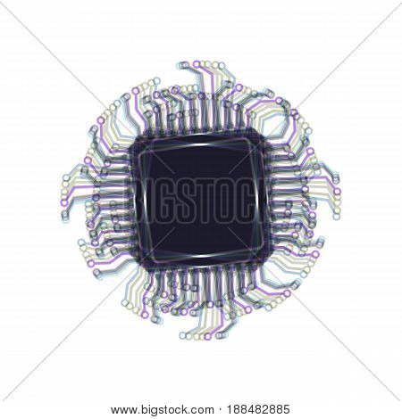 CPU Microprocessor illustration. Vector. Colorful icon shaked with vertical axis at white background. Isolated.