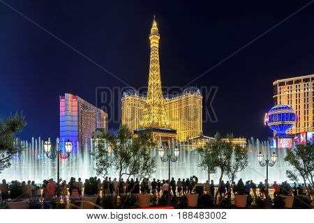 Beautiful Bellagio founteins show and Eiffel tower at night on March 26, 2015 in Las Vegas, Nevada.