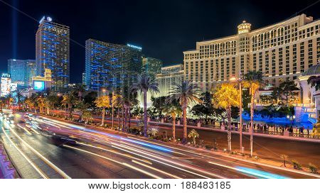 View of the strip traffic near Bellagio Hotel and Casino on March 26, 2015 in Las Vegas.