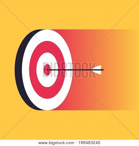 Arrow in the center of the target. Business concept of success and hit the target. Vector illustration in trendy style