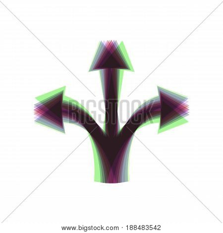 Three-way direction arrow sign. Vector. Colorful icon shaked with vertical axis at white background. Isolated.
