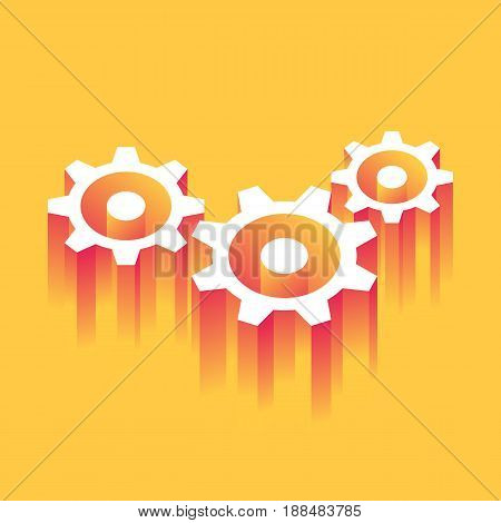 Business Engine. Gears symbol. Concept of motion and team work. Vector illustration in trendy style