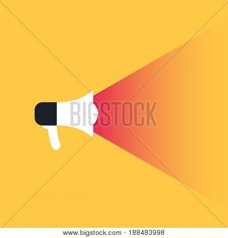 Megaphone, promotion concept. Social media marketing. Vector illustration in trendy style