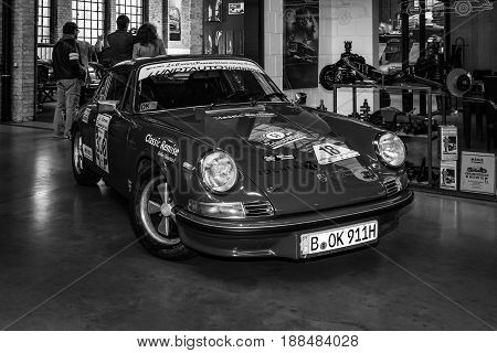 BERLIN GERMANY - MAY 17 2014: Sports car Porsche 911 Carrera RS (black and white). 27th Oldtimer Day Berlin - Brandenburg