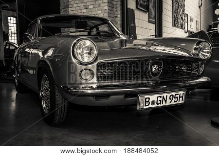 BERLIN GERMANY - MAY 17 2014: Car Fiat Abarth 2200 Coupe Allemano. Black and white. 27th Oldtimer Day Berlin - Brandenburg