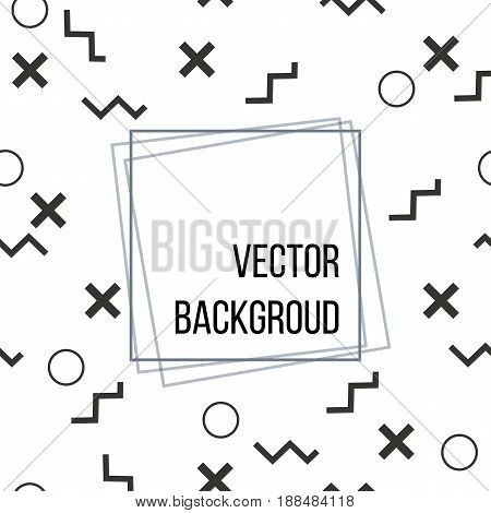 Flat vector texture of geometric shapes with banner and text. Monochromatic figures pattern in modern hipster style.