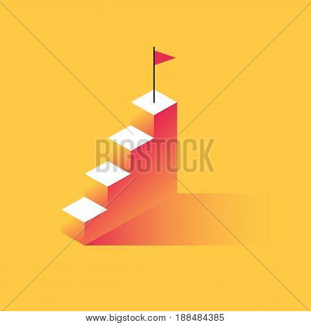 Steps to success with the flag at the top. The concept of achievement, business motivation. Vector illustration in trendy style