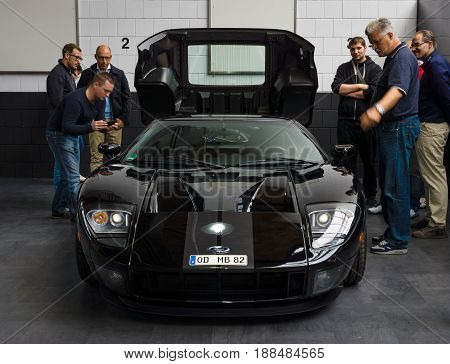 BERLIN GERMANY - MAY 17 2014: Modern sport car Ford GT. 27th Oldtimer Day Berlin - Brandenburg