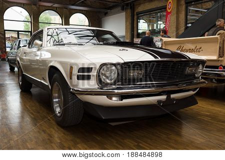 BERLIN GERMANY - MAY 17 2014: Ford Mustang Mach 1 428 cu in (7.0 L) Ramair Cobra Jet - is an performance-oriented option package of the Ford Mustang. 27th Oldtimer Day Berlin - Brandenburg