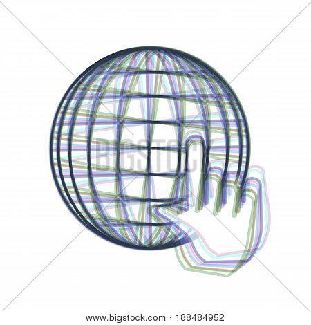 Earth Globe with cursor. Vector. Colorful icon shaked with vertical axis at white background. Isolated.