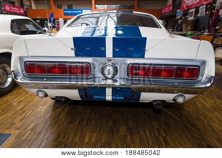 BERLIN GERMANY - MAY 17 2014: Shelby Mustang GT350 fastback (1967) - is a high-performance version of the Ford Mustang. Rear view. 27th Oldtimer Day Berlin - Brandenburg