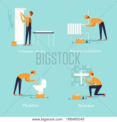 Set of workers, plumber, wallpaper gluing, battery replacement. Flat design vector illustration.