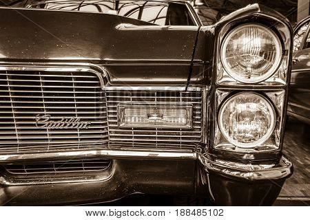 BERLIN GERMANY - MAY 17 2014: Detail of a full-size luxury car Cadillac Coupe de Ville (1967). Sepia. 27th Oldtimer Day Berlin - Brandenburg