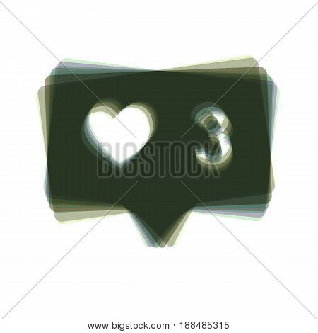 Like and comment sign. Vector. Colorful icon shaked with vertical axis at white background. Isolated.