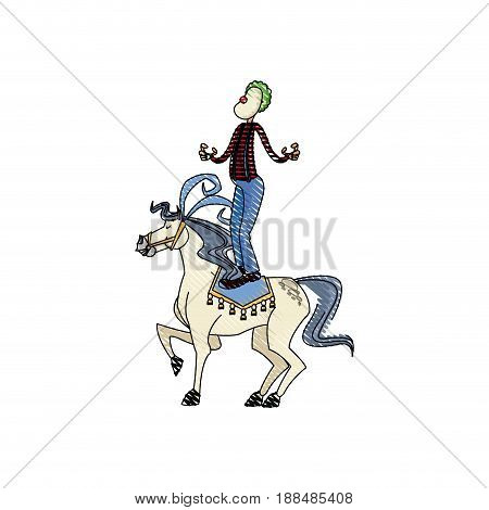 carnival circus fun fair clown and horse juggling vector illustration