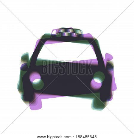 Taxi sign illustration. Vector. Colorful icon shaked with vertical axis at white background. Isolated.