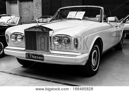 BERLIN GERMANY - MAY 17 2014: Two-door convertible Rolls-Royce Corniche IV. Black and white. 27th Oldtimer Day Berlin - Brandenburg