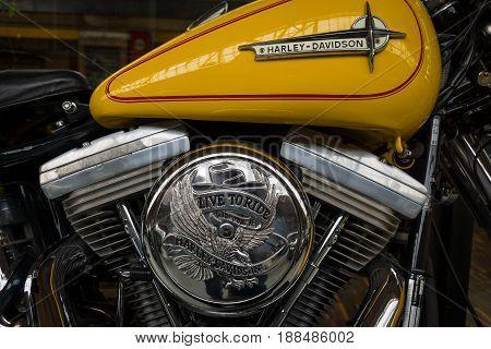 BERLIN GERMANY - MAY 17 2014: Detail of motorcycle Harley-Davidson. 27th Oldtimer Day Berlin - Brandenburg