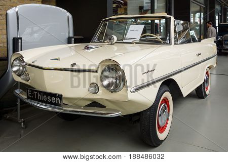 BERLIN GERMANY - MAY 17 2014: The Amphicar is an amphibious automobile. 27th Oldtimer Day Berlin - Brandenburg