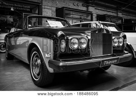 BERLIN GERMANY - MAY 17 2014: Two-door convertible Rolls-Royce Corniche I. Black and white. 27th Oldtimer Day Berlin - Brandenburg