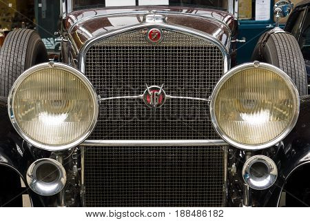 BERLIN GERMANY - MAY 17 2014: Front of the luxury car Cadillac V-16 Landaulet (Cadillac Sixteen) close up. 27th Oldtimer Day Berlin - Brandenburg