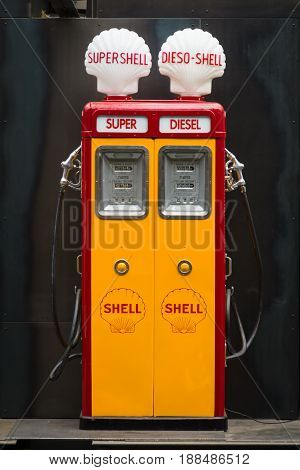 BERLIN GERMANY - MAY 17 2014: Fuel dispenser Themis (1952). 27th Oldtimer Day Berlin - Brandenburg