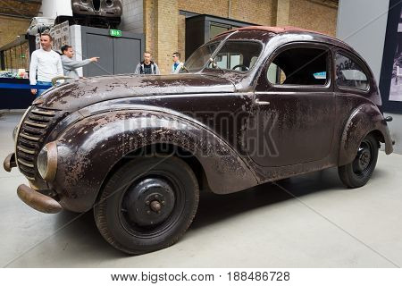 BERLIN GERMANY - MAY 17 2014: The compact car Hanomag 13 Liter (1940). 27th Oldtimer Day Berlin - Brandenburg