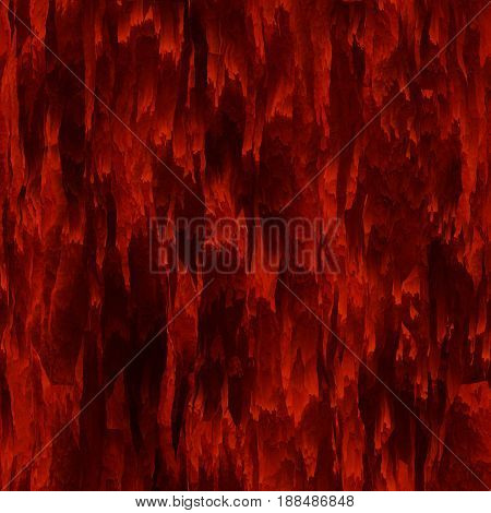 Seamless texture hanging down worn-out ripped rags bloody red cloth or paper. Pattern of rustic fabric material