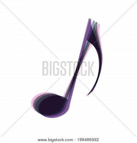 Music note sign. Vector. Colorful icon shaked with vertical axis at white background. Isolated.