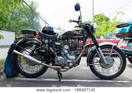 BERLIN GERMANY - MAY 17 2014: Motorcycle Royal Enfield Bullet 500 es. 27th Oldtimer Day Berlin - Brandenburg