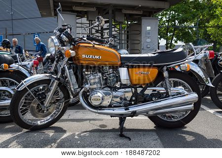 BERLIN GERMANY - MAY 17 2014: The first Japanese motorcycle with a liquid-cooled engine Suzuki GT750. 27th Oldtimer Day Berlin - Brandenburg