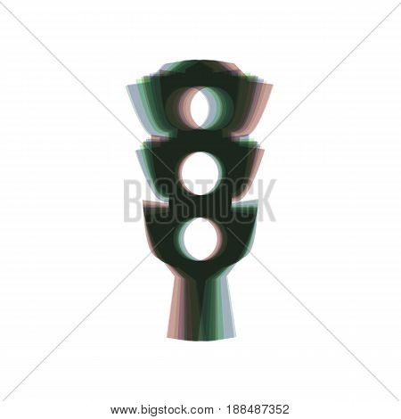 Traffic light sign. Vector. Colorful icon shaked with vertical axis at white background. Isolated.