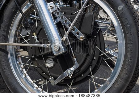 BERLIN GERMANY - MAY 17 2014: Unique magnesium front brake of the motorcycle 1200 Munch Mammoth TTS. 27th Oldtimer Day Berlin - Brandenburg