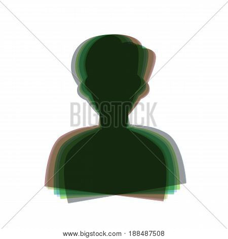 User avatar illustration. Anonymous sign. Vector. Colorful icon shaked with vertical axis at white background. Isolated.