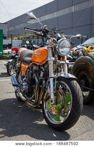 BERLIN GERMANY - MAY 17 2014: Japanese motorcycle Kawasaki Kz1000. 27th Oldtimer Day Berlin - Brandenburg