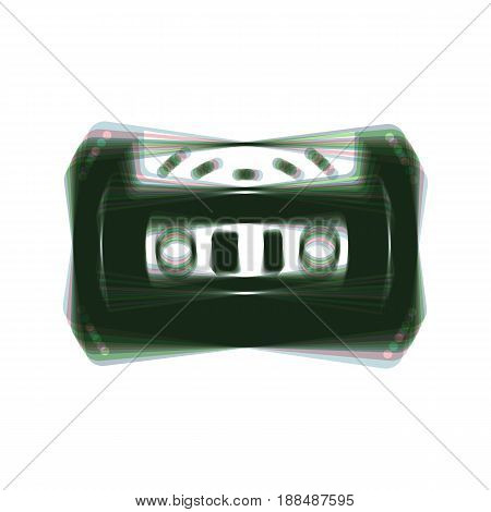 Cassette icon, audio tape sign. Vector. Colorful icon shaked with vertical axis at white background. Isolated.