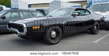 BERLIN GERMANY - MAY 17 2014: Mid-size car Plymouth Satellite (Third Generation). 27th Oldtimer Day Berlin - Brandenburg