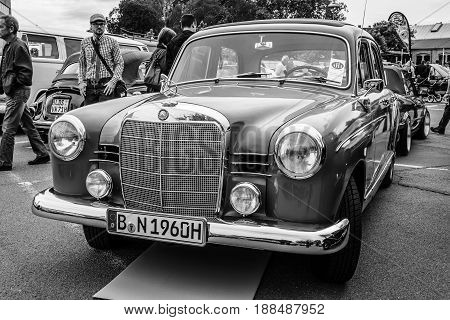 BERLIN GERMANY - MAY 17 2014: Compact executive car Mercedes-Benz 190 (W121).Black and white. 27th Oldtimer Day Berlin - Brandenburg