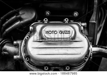 BERLIN GERMANY - MAY 17 2014: Detail of a engine of the Italian motorcycle Moto Guzzi V7. Black and white. 27th Oldtimer Day Berlin - Brandenburg