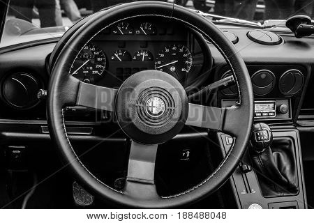 BERLIN GERMANY - MAY 17 2014: Cab of the roadster Alfa Romeo Spider (Third generation). Black and white. 27th Oldtimer Day Berlin - Brandenburg