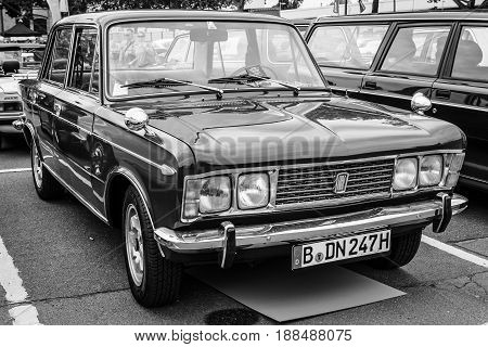 BERLIN GERMANY - MAY 17 2014: Large family car Fiat 125S 1970. Black and white. 27th Oldtimer Day Berlin - Brandenburg