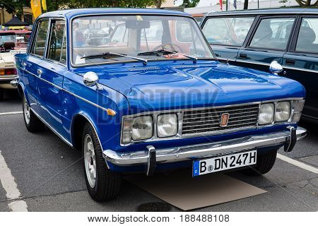 BERLIN GERMANY - MAY 17 2014: Large family car Fiat 125S 1970. 27th Oldtimer Day Berlin - Brandenburg